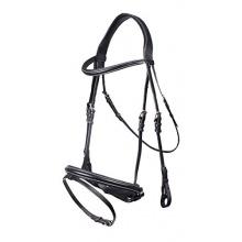 QHP Geschirr Leder schwarz weiße Luxus Ziernähte Pony Bild 1