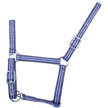 HKM Nylon-Halfter Karabiner dunkelblau babyblau WB Bild 1