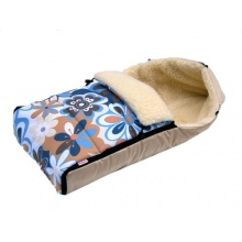 Babylux Fußsack für Kinderwagen Lammwolle Beige Blumen Bild 1