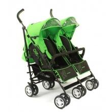 Chic 4 Baby Zwillingskinderwagen inkl. Regenhaube grün Bild 1