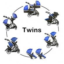 KidzKargo Zwillingskinderwagen schwarz blau Bild 1