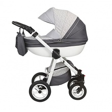 Magic Mubndo Luxus Kinderwagen Moretti grau blumen Bild 1