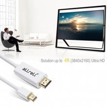allreli DisplayPort Kabel auf HDMI Kabel 4K weiß Bild 1
