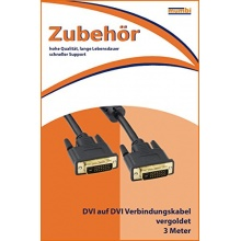 mumbi DVI Kabel 24+1 polig DVI auf DVI 3m vergoldet Bild 1