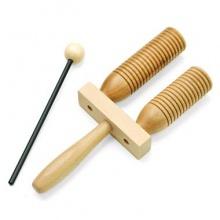 Wooden Agogo mit Schlaegel  klein Bild 1