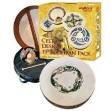 Waltons 15 Inch Irish Bodhran Gift Set Chase Bodhran Design Bild 1