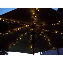 LED Sonnenschirm Lichterkette 8x1,4m 160er warmweiß Kabel weiß FHS 17040 Bild 1