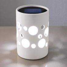 Solar-LED-Leuchte aus Keramik - weiß Bild 1