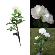 Solar Gartenstecker LED Blume Licht Deko Weiß Rose Bild 1