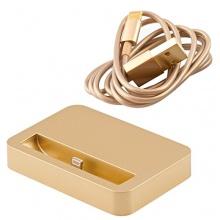 Premium Set mit Dockingstation Ladestation + USB Datenkabel / Ladekabel kompatibel mit Apple iPhone 6 und iPhone 6 Plus in gold von iprotect Bild 1