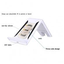 Qi Wireless-Ladegerät Sender Drei Spulen mit Halter-Standplatz für Telefon / Tablet PC iPad mini von Andoer Bild 1