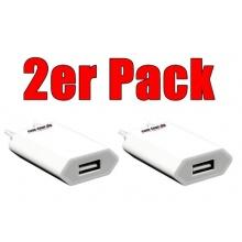 USB Ladegerät (1000mAh, 5V, 5 Watt) für Apple iPhone/iPod Mini Shuffle/Classic Nano 5G/6G weiß (2 Stück) Netzteil von COM-FOUR Bild 1