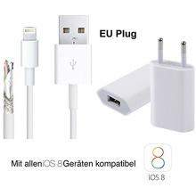 2in1-Set mit iPhone 6 Netzteil Ladegerät und iPhone 6 Ladekabel (IOS 8 geeignet - 1 Meter) / Datenkabel / Lightning Kabel von THESMARTGUARD Bild 1