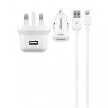 USB-Ladegeräte-Set, UK Version (je ein 2.100 mA KFZ- und Steckernetzteil inkl. Apple Lightning-Kabel, 8-polig), weiß von Cabstone Bild 1