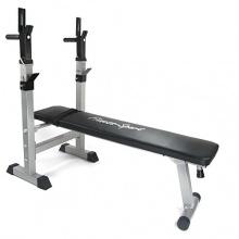 Hantelbank Fitness Sport, Trainingsbank für Bankdrücken, verstellbar und einklappbar,125 x 60 x 110 cm, silber-schwarz von JOM Bild 1