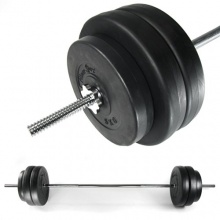 Langhantel, Hantelstange mit 6 Scheiben, Fitness-Sport, chrom, Länge: 168 cm, 2 x 5 kg und 4 x 10 kg von JOM Bild 1