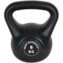 Kunststoff-ummantelte Kettlebell / Kugelhantel 8 Kg schwarz inkl. deutschsprachiger bebilderter Trainingsanleitung von Bad Company Bild 1