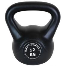 Kunststoff-ummantelte Kettlebell / Kugelhantel 12 Kg schwarz inkl. deutschsprachiger bebilderter Trainingsanleitung von Bad Company Bild 1
