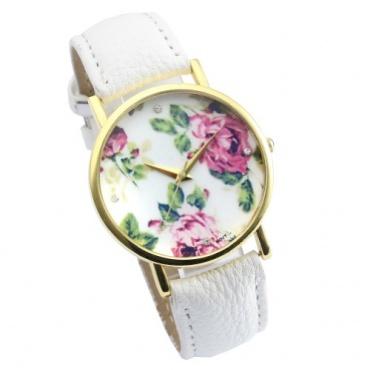 Better Dealz Vintage Blume Damen Analog Armbanduhr Basel-Stil 3 weiß Bild 1