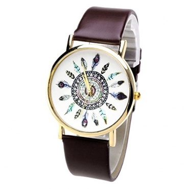 Better Dealz Damen Lässig Armbanduhr Feder Blatt Kaffee Bild 1