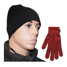 fontastic Winter Headset bestehend Stereo Sound-Mütze Touchscreen-Handschuhe schwarz rot Bild 1
