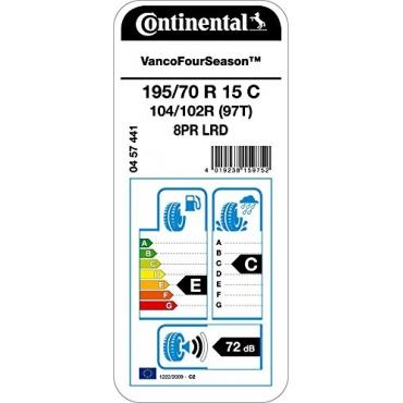 Continental, 195/70R15C 104/102RTL VANCO 4 Seasons e/c/72 - LKW Reifen Bild 1