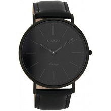 Oozoo Vintage Ultra Slim  Herren Analog Armbanduhr Leder 44 MM Black/Schwarz/Schwarz C7301 Bild 1
