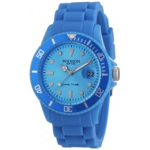 Madison New York Unisex Herren Analog Armbanduhr Candy Time Analog Silikon blau U4167-06/2 Bild 1