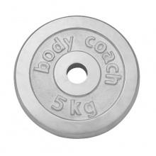 body coach Hantelscheibe 5,0 KG Chrom Polybag, silbern, 22x22x4cm Bild 1