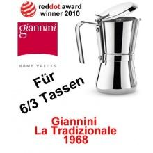 6 oder 3 Tassen Giannini La Tradizionale Espressokocher Giannina Bild 1