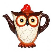 Eule Kaffeekanne Tierkanne aus Leichtkeramik Hand bemalt von Jameson und Tailer Bild 1
