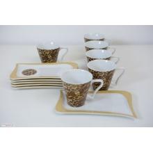 KAFFEESERVICE MODERN 6 PERSONEN LEOPARD 12TLG PORZELLAN von Tinas Collection Bild 1