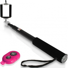 igadgitz Combo Pack Schwarz Selfie Sticks Pink Bluetooth Bild 1