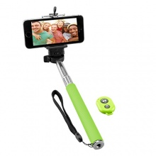 NINETEC Picturesmart Selfie Stick Bluetooth Auslöser Grün Bild 1