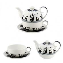 4tlg. Set Tea for one Diamant, Katze von Jameson und Tailor Bild 1