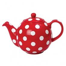 Globe Teekanne rot mit weißen Punkten von London Pottery Bild 1