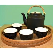 Teeservice Noir mit Tablett Kanne und 4 Tassen Bild 1