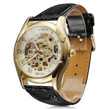 BestOfferBuy Armbanduhr Gold Weiß Skelett Mechanisch Kunstleder Bild 1
