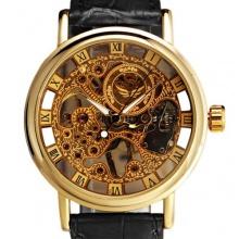 Herren Wunderschöne Ultra-dünne goldige Uhr Armbanduhr Bild 1