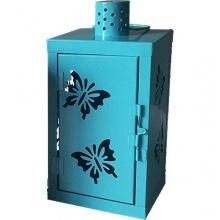 MQ Metall Laterne Deko türkis blau Bild 1