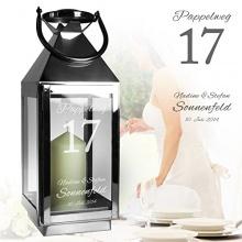 Edelstahl Laterne Silber Metall Glas [MOTIV HAUSNUMMER] Bild 1