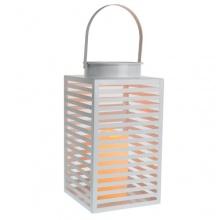 LED Laterne Metall weiß inkl Kerze flackernd Bild 1