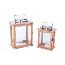 2tlg. Set Holzlaterne mit Metalldach Bild 1