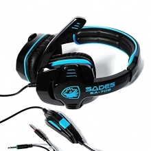 MENGS 2.2m Kabel Stereo Headset SA708 PC Gaming 3,5 mm Blau Bild 1