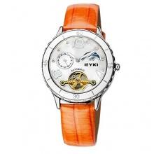 ufengke® automatische mechanische tourbillon strass mond lederband orange Bild 1