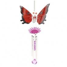 Dekoratives Windspiel Schmetterling Feng-Shui Rot 40cm Bild 1