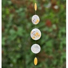 Capiz-Windspiel Vogel Perlmutt Feng-Shui 180cm orange Bild 1