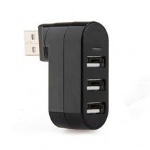 MENTEQ Schwarz USB 2.0 Hub Verteiler 3 Ports Highspeed 180 drehbar Bild 1