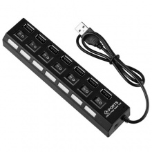 NEU Schwarz 7 Port On/Off Schalter Switch USB Hub Verteiler Bild 1