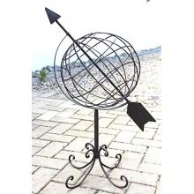 Globus aus Metall 101806 Sonnenuhr aus Schmiedeeisen Bild 1